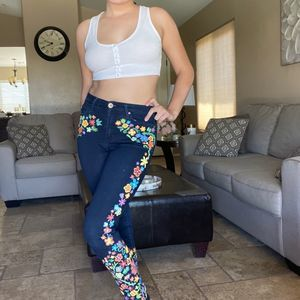 Levi's Groovy Baby Custom Floral Skinny Jeans